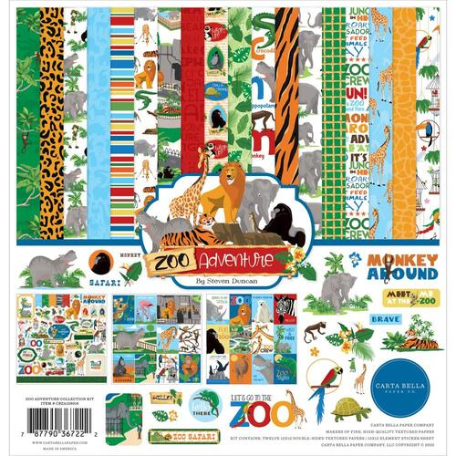 "Carta Bella Zoo Adventure 12"" Cardstock Collection Kit"