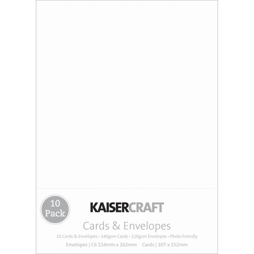 Kaisercraft C6 Cards with Envelopes White 10pk