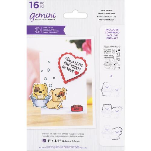 Gemini Over the Edge Stamp & Die Set Paw Prints