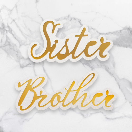 Couture Creations Dazzlia Mini Cut Foil & Emboss Die Sister & Brother Sentiment