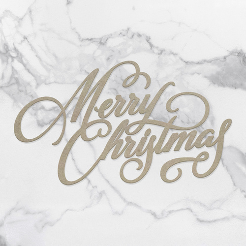 Couture Creations Naughty or Nice Chipboard Merry Christmas Sentiment