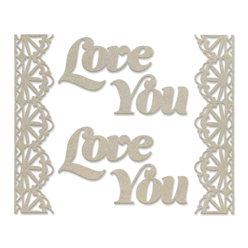 Couture Creations Peaceful Peonies Chipboard Love and Lace