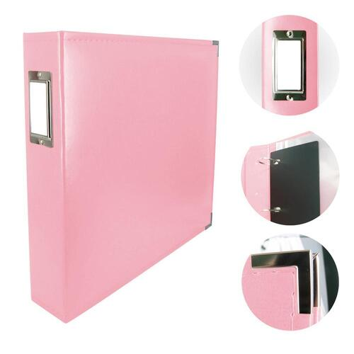 Couture Creations Classic Superior Leather D-Ring Album Baby Pink