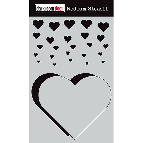 Darkroom Door Medium Stencil Cascading Hearts