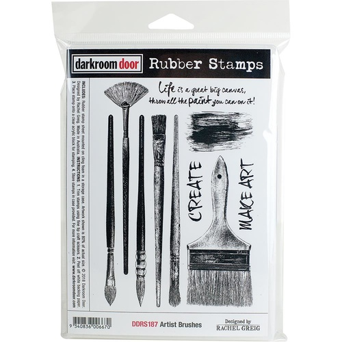 Darkroom Door Cling Rubber Stamp Set Artist Brushes