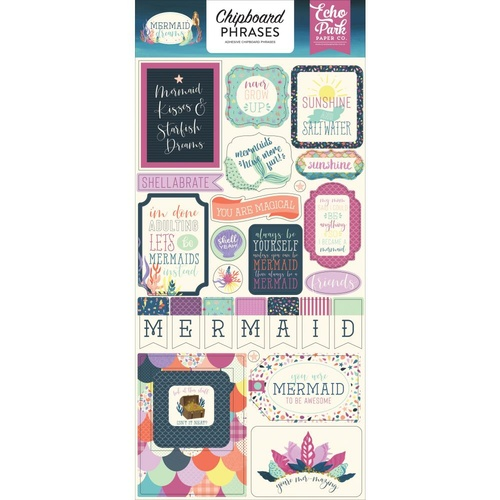 Echo Park Mermaid Dreams Chipboard Phrases