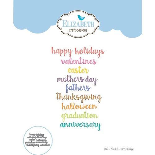 Elizabeth Craft Designs Die Words 3 Happy Holidays by Joset