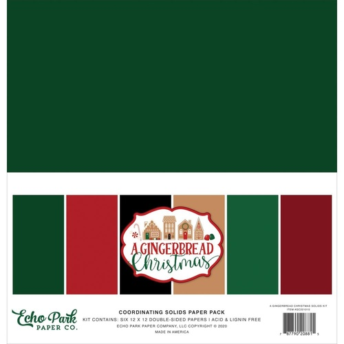 "Echo Park A Gingerbread Christmas 12"" Coordinating Solids Cardstock Pack 6pk"