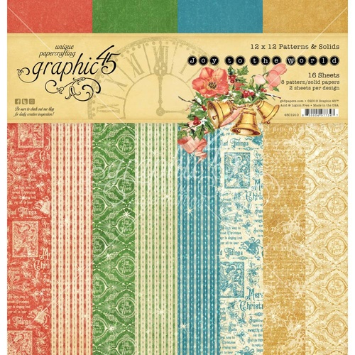"Graphic 45 Joy to the World 12"" Paper Pad Patterns & Solids"