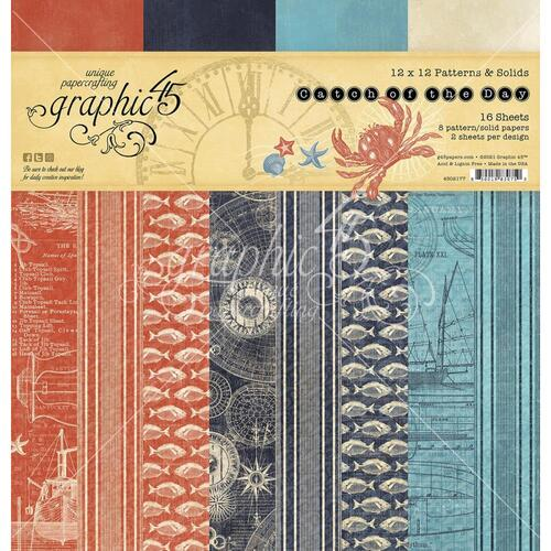 "Graphic 45 Catch of the Day 12"" Patterns & Solids Paper Pad"