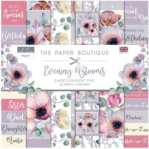 "The Paper Boutique Evening Blooms 8"" Embellishments Pad"