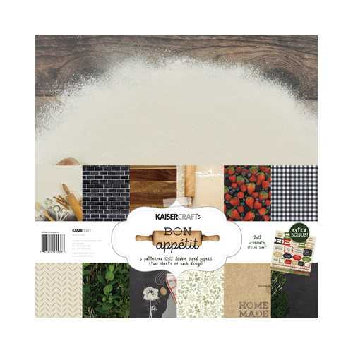 "Kaisercraft Bon Appetit 12x12"" Paper Pack with Bonus Sticker Sheet"