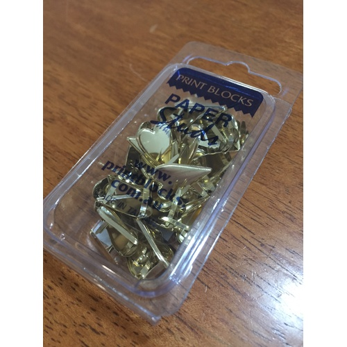 Print Block Brads Long Heart Gold 50pc