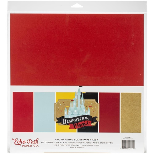 "Echo Park Remember the Magic 12"" Solid Cardstock Pack"