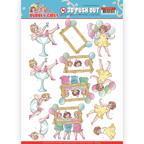 Find it Trading Bubbly Girls Party 3D Pushout Decoupage Sheet Let's Have Fun