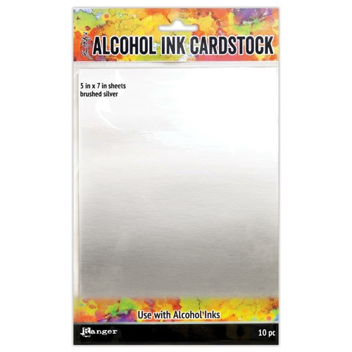 "Tim Holtz Alcohol Ink Card Stock 5x7"" Brushed Silver"