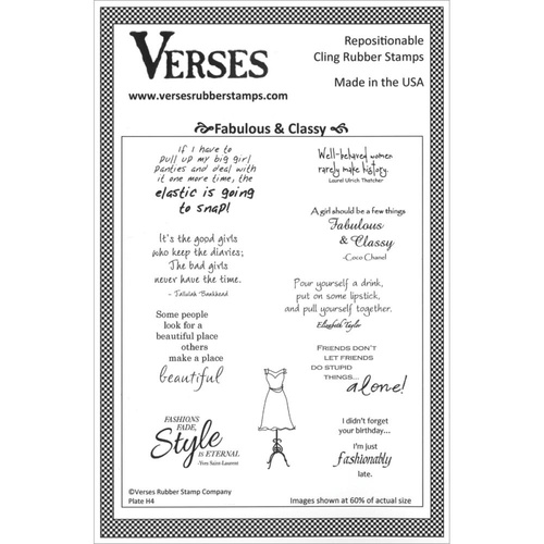 Verses Cling Rubber Stamp Fabulous & Classy